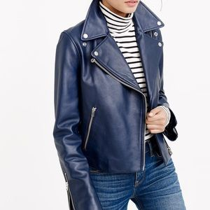J.Crew Collection Leather Motorcycle Jacket Navy